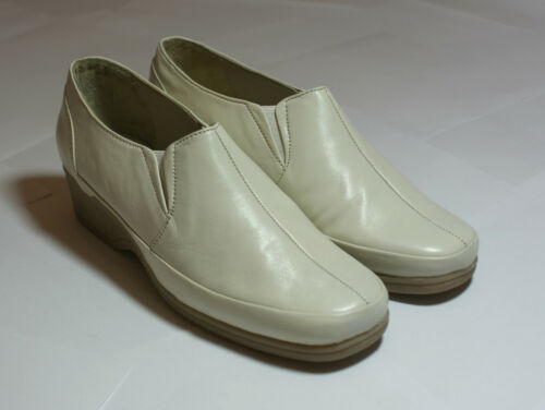 * SALE boutique clairance Light Cream Real Leather Shoes Wedge Heel UK 8 #131