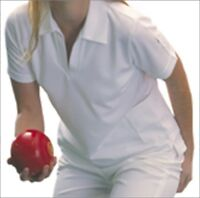 Taylor Ladies Bowlswear Bowls Clothing White V-neck Iona Top 725