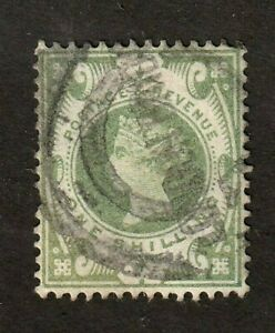 Great-Britain-stamp-122-used-Queen-Victoria-1-sh-green-wmk-30-SCV-73