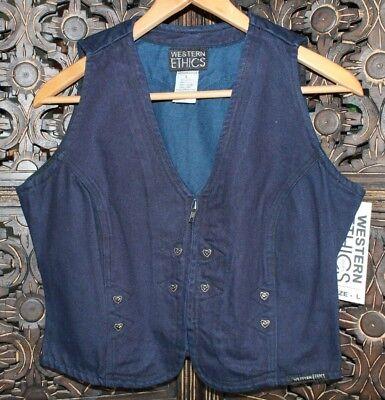 Western Ethics Ladies Vintage Black//Green Stretch Zip Up Vest W// Silver Studs XL