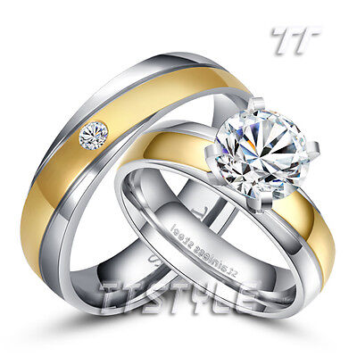 TT Elegant Two-Tone Gold Stainless Steel Engagement Wedding Band Ring For Couple