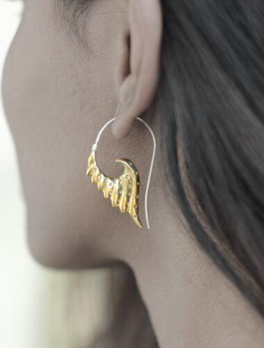 New Exotic Brass Earring 92.5 Silver Hook Tribal Angel Wings Gold Ethnic Women