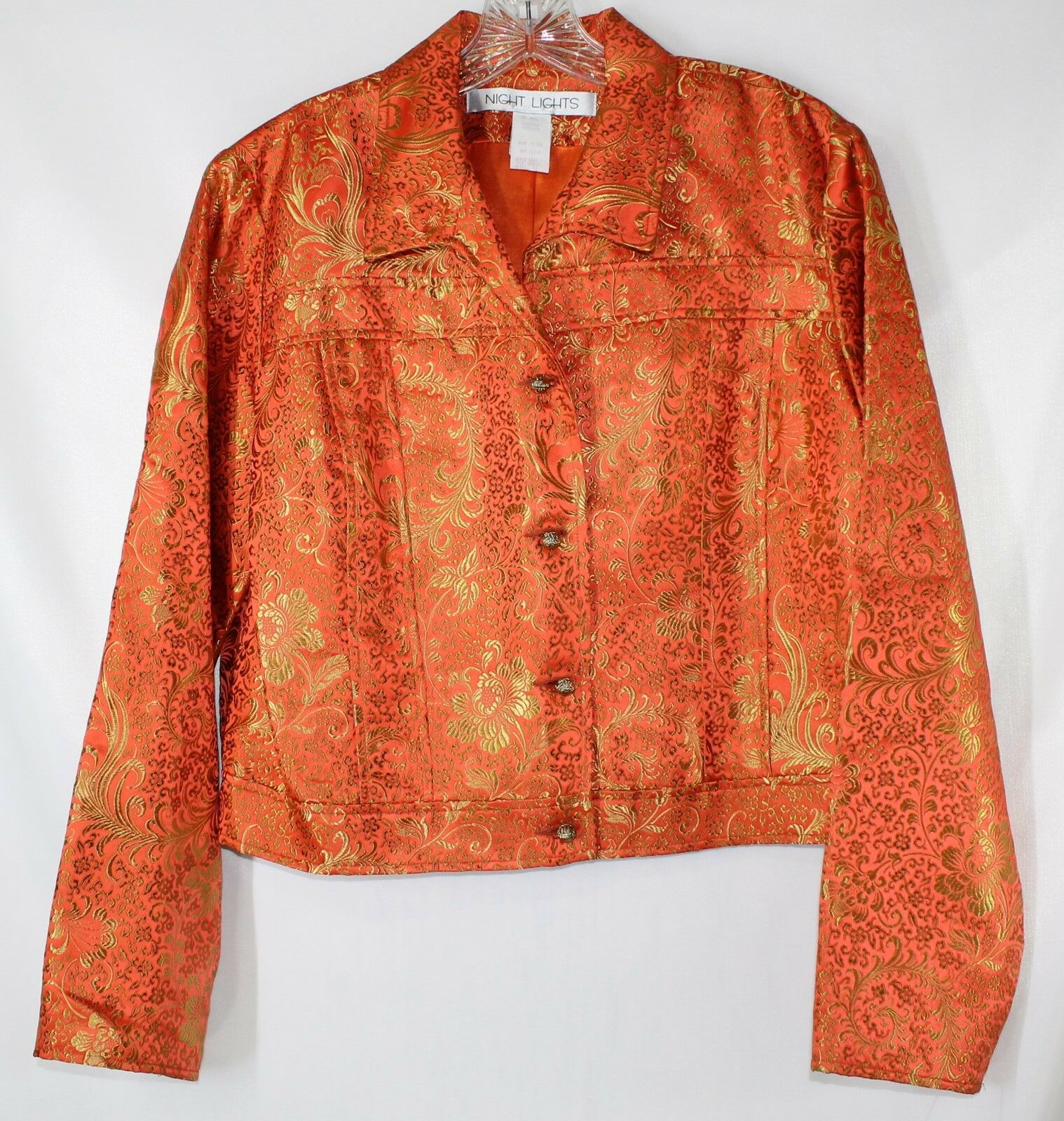 NWOT Night Lights Women's 10 Vibrant orange gold LS Embroidered Lined Button Up