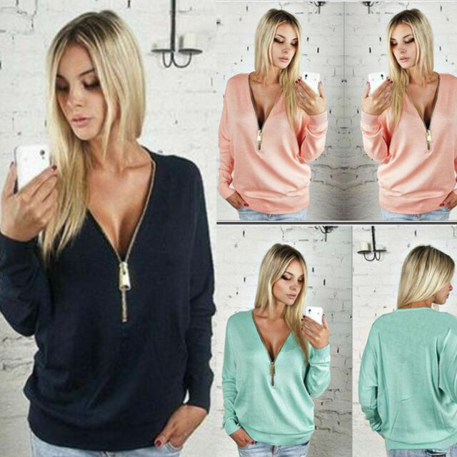 Sexy Ladies Blouse Deep V Neck Casual Long Sleeve Pullover Womens Tops T Shirt