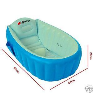 Baignoire Bain à remous Bébé avec Pompe de Pied Amusement Gonflable Douche Bleu