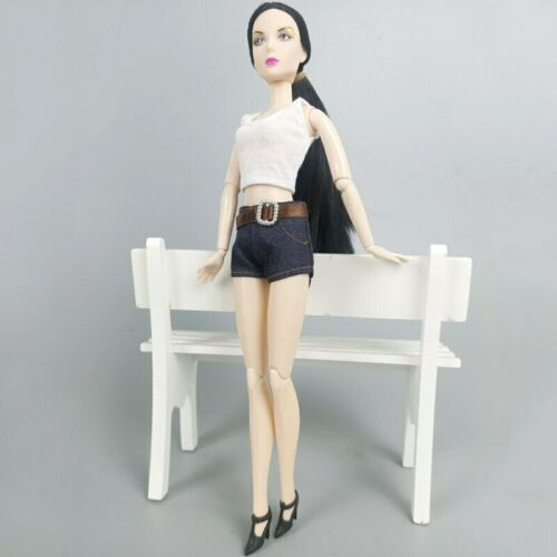 "White Tops Short Jean Pants Fashion Doll Clothes for 11.5/"" Doll Outfits 1//6"