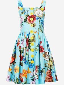 1495-Dolce-amp-Gabbana-AUTH-NEW-Floral-Watch-Phone-Heart-Printed-Poplin-Dress-40