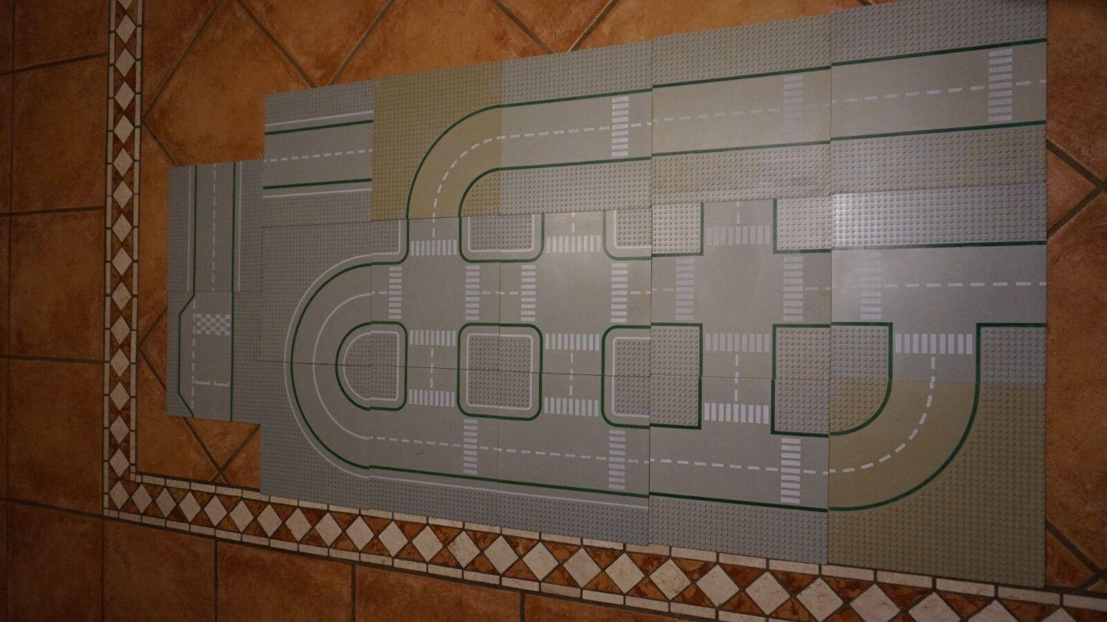 LEGO LEGO LEGO ™ 17xStraßenplatten grau Gerade Kurve Kreuzung Rennstrecke Zebrastreifen 4b1f1c