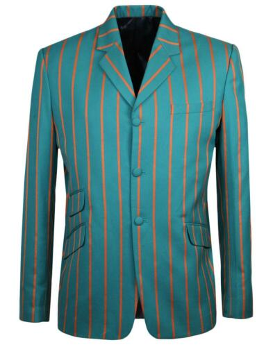 NEW RETRO INDIE MOD 60s Striped BOATING BLAZER JACKET OFFBEAT MC389 T7A TEAL