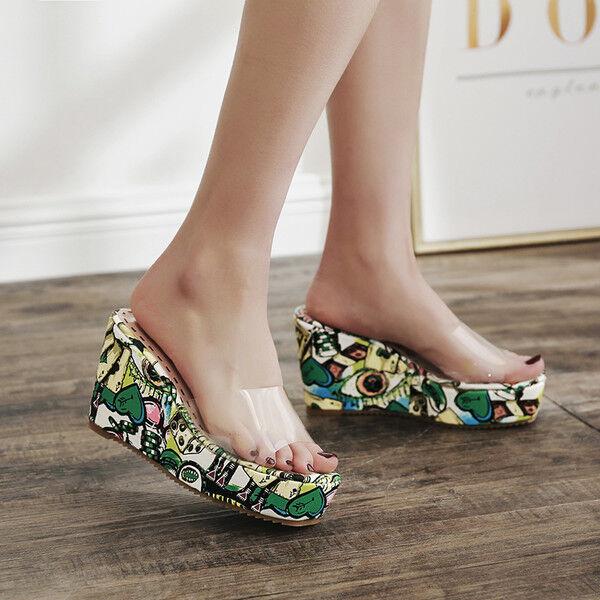 Sandalias elegantes elegantes elegantes zuecos cuña zapatillas 9 verde cómodo cuero del faux  promociones