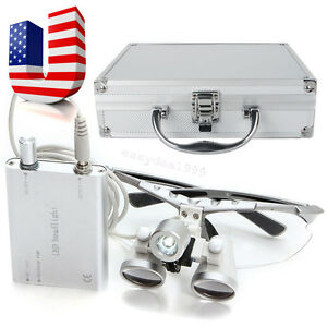 Dental-Surgical-Medical-Binocular-Loupes-3-5x-420-Head-Light-Aluminum-Metal-Case