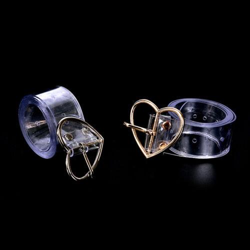 Women Long Transparent Belt Heart Pin Buckle Waist Female Belt Waistband Gift VQ
