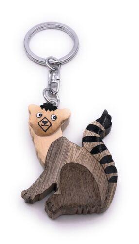 Lemur Affe Figur Holz Edel Handmade Schlüsselanhänger Anhänger