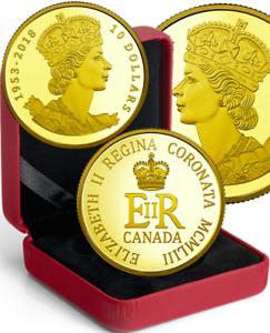 1953-2018-Coronation-65th-HerMajesty-Queen-Elizabeth-II-10-PureGold-Coin-Canada