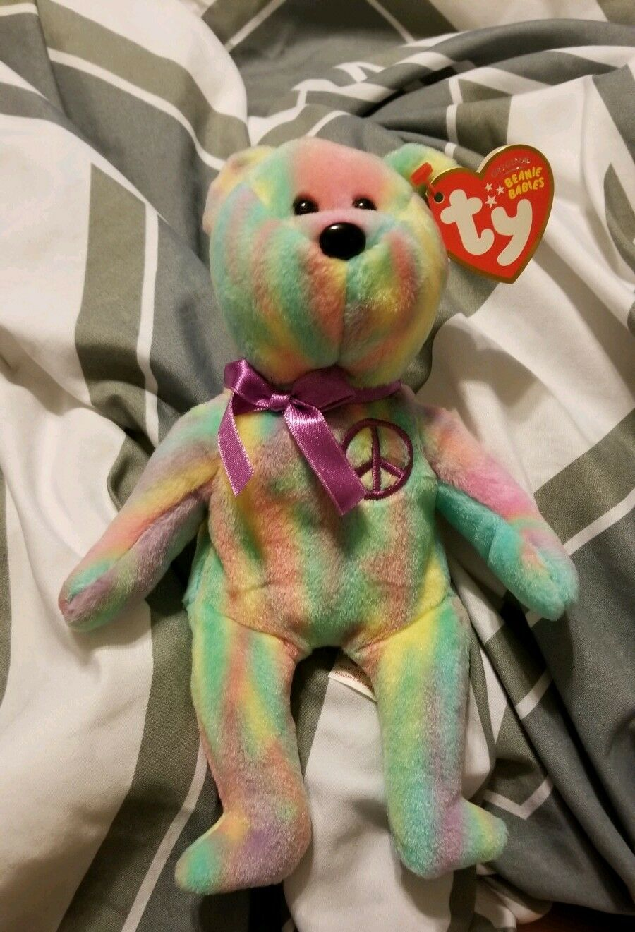 Ty Beanie Baby Peace - MWMT (Bear Candy Stripes 2010)