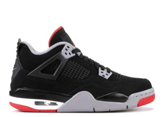 Jordan Air 4 Retro GS Bred 2019 Youth Shoes - Black/Fire Red-Cement Gray-Summit White, 39 EU (408452060)
