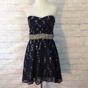357053a6190 MY MICHELLE Women s Blue Lace Sequin Strapless Mini Dress Juniors ...