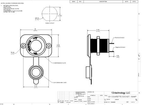 Accessory Lighter socket panel  power outlet 12 Volt Jack Marine female w// fuse
