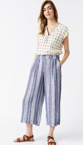 White Stuff SS19 Athel Crop Linen Culottes Blue Ivory Stripe Sizes 10-18 NEW