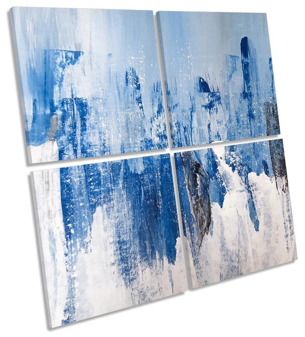blu Grunge ASTRATTO MULTI a muro opera d'arte art SQUARE