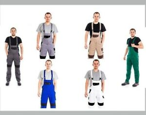 UK-Work-Bib-amp-Brace-Overalls-Heavy-Duty-Decorators-Dungarees-Knee-Pad-Pockets