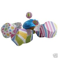 Candy Theme Kit 24 Cupcake Pick Liner Wrapper Topper Kid Party Bakery Supply