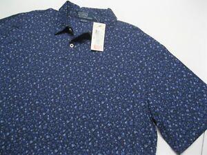 Men-039-s-NEW-Ralph-Lauren-Polo-Blue-Floral-Short-Sleeve-Shirt-size-L