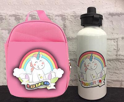 drinking bottle /& Lunchbox set with Unicorn Girl gift for children Backpack