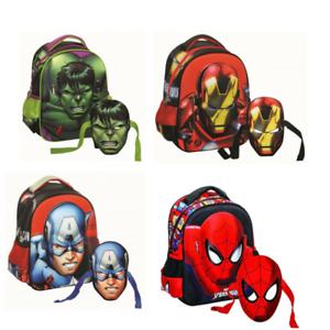 3D-Mask-Kindergarten-School-Backpack-Bag-Marvel-Avengers-Ironman-Hulk-Spiderman