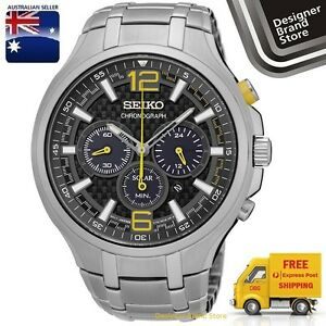 New-Seiko-Mens-Recraft-Solar-Watch-Silver-Tone-S-Steel-Black-Dial-Chrono-SSC449