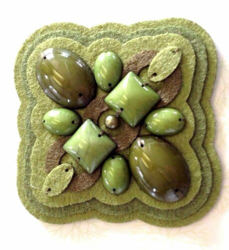 """FELTED 3-D APPLIQUE Layered SQUARE or DIAMOND 2.5/"""" Hand Sewn FELT BEADS 1pc"""