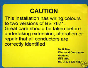 50 personalised mixed wiring colours labels bs7671 ebay rh ebay co uk Cord Labels Data Cable Labels