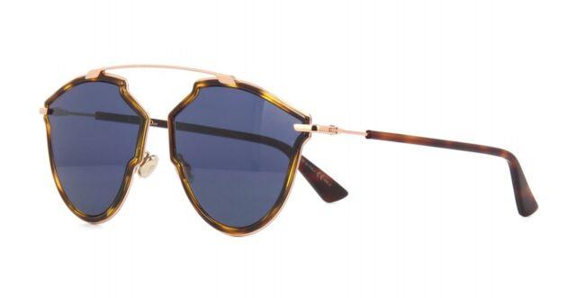 4526a9ba09 Christian Dior so Real Rise Qumku Sunglasses Gold Havana Frame Blue Lenses  58mm
