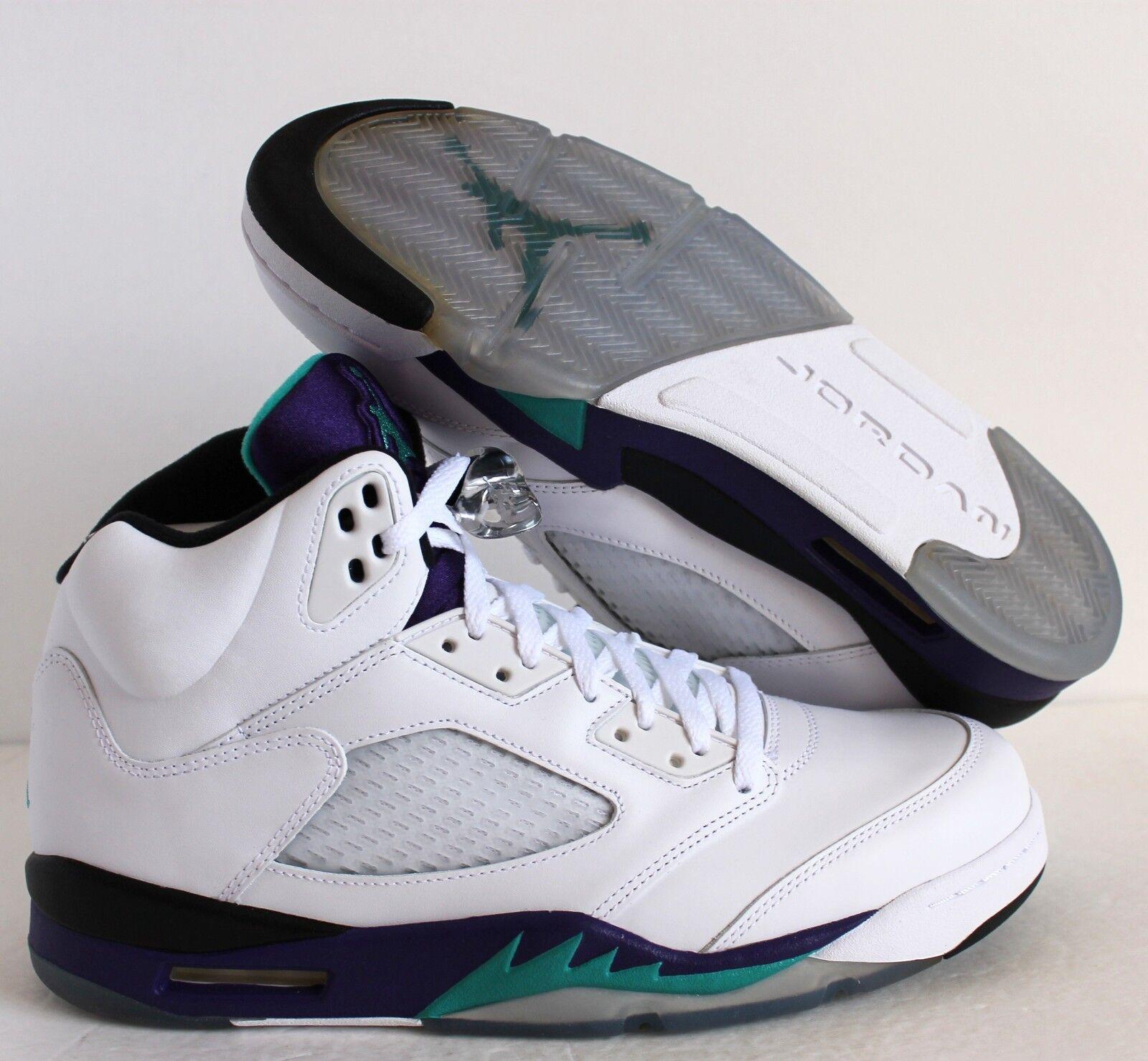 Nike air jordan 5 'uva white-new emerald-grape sz - 136027-108]