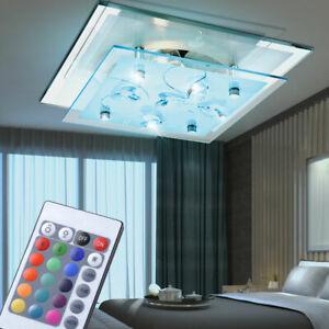 RGB LED Glas Decken Leuchte Ess Zimmer Fernbedienung Dimmer Lampe Kristalle klar