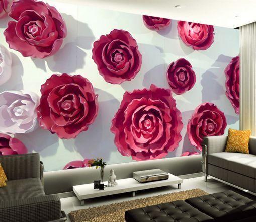 3D rose rosse 23 Parete Murale Foto Carta da parati immagine sfondo muro stampa