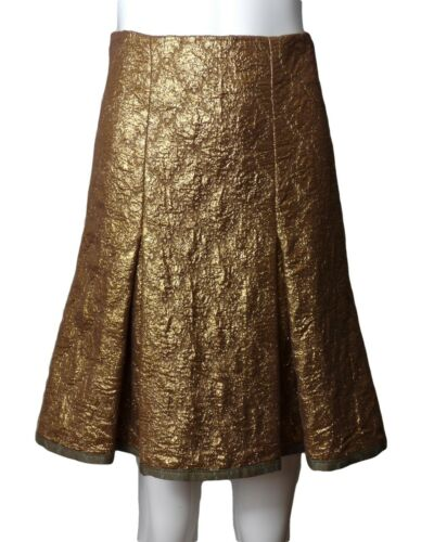 PRADA-Gold Metallic Brocade Skirt, Size-6