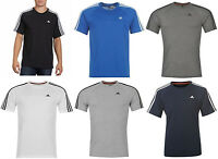 Mens adidas 3 Stripe Logo T Shirt Short Sleeve BNWT Crew Neck 100% Cotton Clima