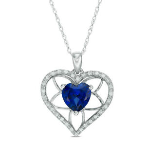 263df1ae077a4 Details about Diamond Accent Lab-Created Sapphire Heart Necklace Pendant  Solid 10k White Gold