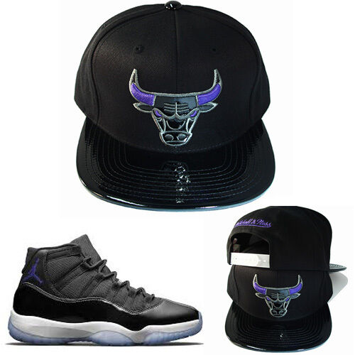 210d80bdc17 ... clearance mitchell ness chicago bulls snapback hat black purple air  jordan 11 space jam ebay 6d323 ...