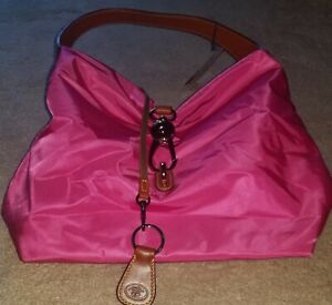 New-Dooney-amp-Bourke-Nylon-Hobo-with-Logo-Lock-amp-Accessories-in-Fuschia