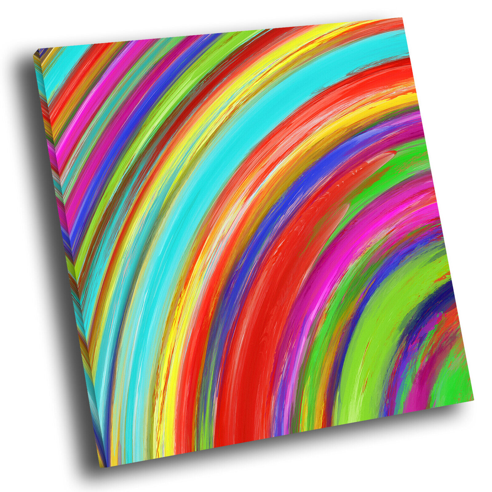 Colourful rot Blau Square Abstract Photo Canvas Wall Art Large Picture Prints