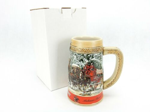 1987 Anheuser Busch AB Budweiser Bud Holiday Christmas Beer Stein Clydesdales