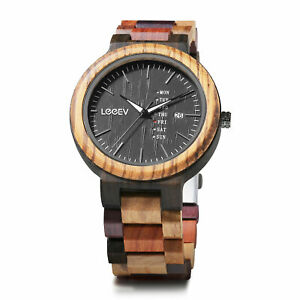 LEEEV-Mens-Wooden-Watch-Relogio-Masculino-Multi-Color-Wood-Watch-Xmas-Gift-Men