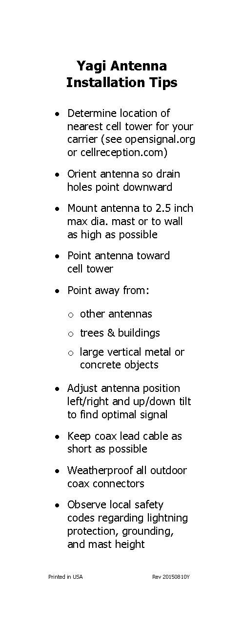 Proxicast 11 dBi Yagi High Gain 3G ANT-128-001 Wi-Fi Universal Fixed Mount Directional Antenna LTE//xLTE 700-2700 MHz 4G