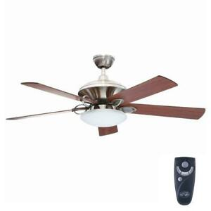 Details About Sauterne Ii 52 In Indoor Brushed Nickel Ceiling Fan With Light Kit And Remote C