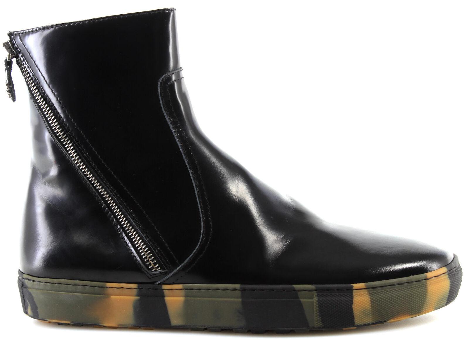 ROBERTO CAVALLI Herren Stiefeletten Schuhe 3022RC VarianteB Spazzolato schwarz IT