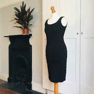 Vintage-90s-Black-Tight-Stretchy-Textured-Sheath-Dress-10-12