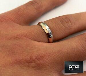 Anello-Fede-Fedina-Fidanzamento-in-Argento-925-Uomo-Donna-Oro-Solitario