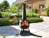Extra Groß Stahl 134cm Chiminea 'rancho' Terrasse -strahler Mit Bbq Grill